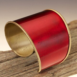Hand-crafted Red Brass Cuff (India)