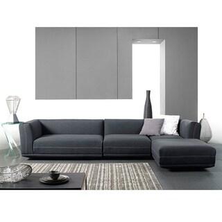 Baxton Studio Fairbanks Grey Upholstered Modern Sectional Sofa Set with Ottoman