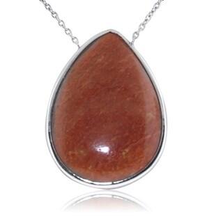 Gioelli Sterling Silver Large Pear Shape Orange Aventurine Gemstone Pendant Necklace