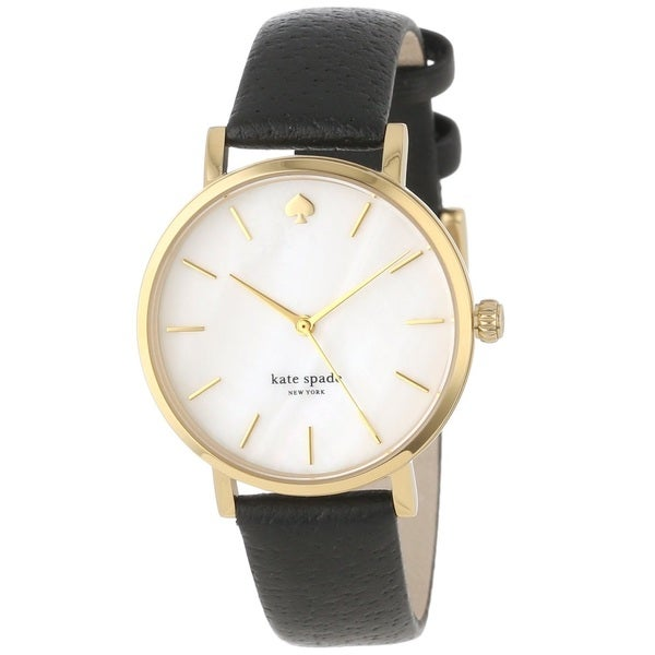kate spade New York Women's 1YRU0010 'Metro' Black Leather Watch