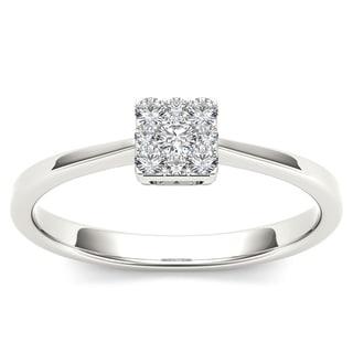 De Couer 10k White Gold 1/6ct TDW Diamond Cluster Fashion Ring (H-I, I1-I2)