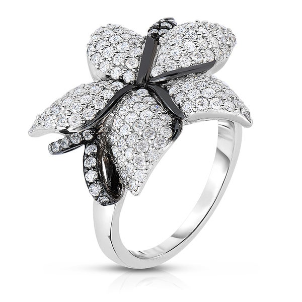 14k White Gold With Black Rhodium 1/14ct TDW Floral Shaped Diamond Cocktail Ring (H-I, I1-I2)