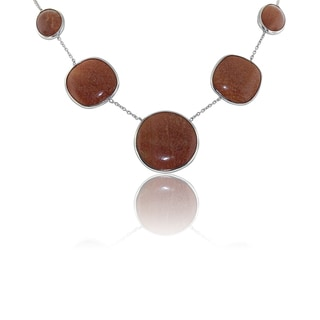 Gioelli Sterling Silver Orange Aventurine Gemstone Necklace