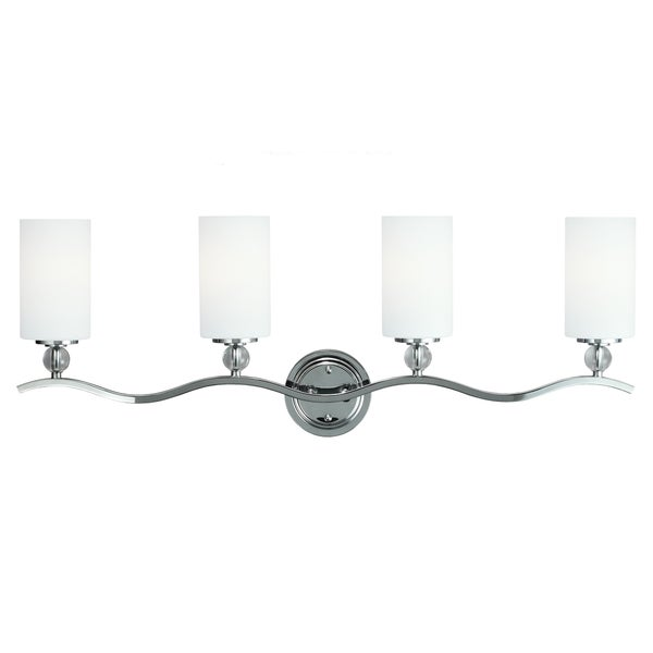 Fluorescent Englehorn 4-light Wall / Bath in Chrome with Etched Glass Painted White Inside
