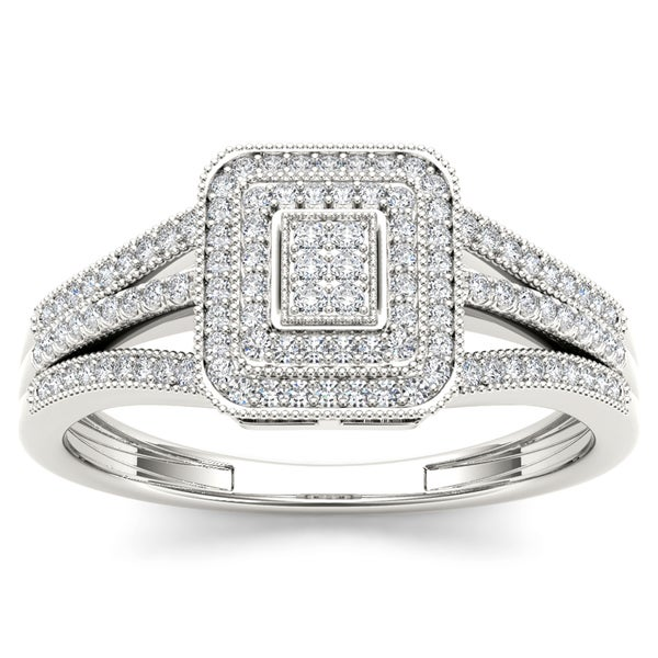 De Couer 10k White Gold 1/6ct TDW Diamond Composite Engagement Ring (H-I, I1-I2)