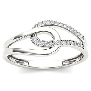De Couer 10k White Gold 1/10ct TDW Diamond Two-side Knot Fashion Ring (H-I, I2)