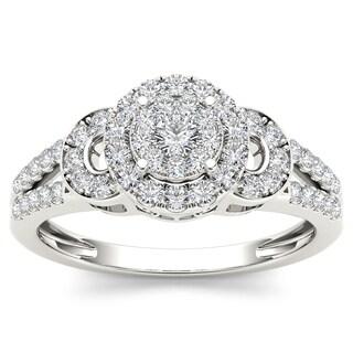 De Couer 10k White Gold 1/2ct TDW Diamond Cluster Engagement Ring (H-I, I2)