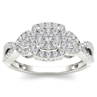 De Couer 10k White Gold 1/2ct TDW Diamond Composite Engagement Ring (H-I, I2)