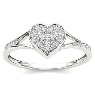 De Couer 10k White Gold 1/6ct TDW Diamond Heart Shape Split Shank Fashion Ring (H-I, I1-I2)