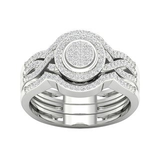 De Couer 10k White Gold 1/3ct TDW Diamond Halo Engagement Ring (H-I, I1-I2)
