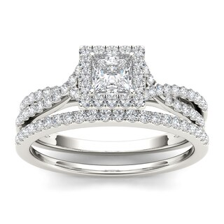 De couer 10k White Gold 1ct TDW Diamond Princess-cut Engagement Ring Set (H-I, I1-I2)