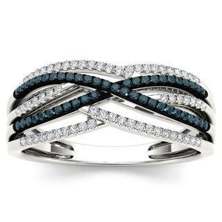 De Couer 10k White Gold 1/4ct TDW White and Blue Diamond Fashion Ring (H-I, I2)