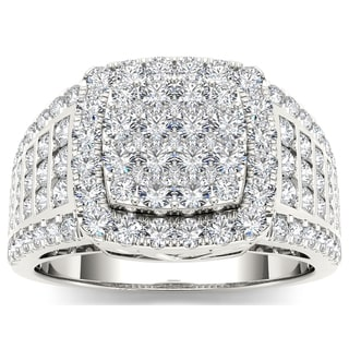 De Couer 10k White Gold 1 1/2ct TDW Diamond Pave Ring (H-I, I1-I2)