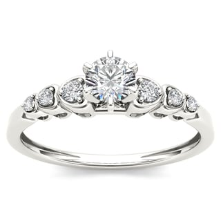 De Couer 10k White Gold 1/3ct TDW Diamond Luscious Solitaire Ring (H-I, I2)