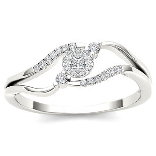 De Couer 10k White Gold 1/8ct TDW Diamond Ring (H-I, I2)