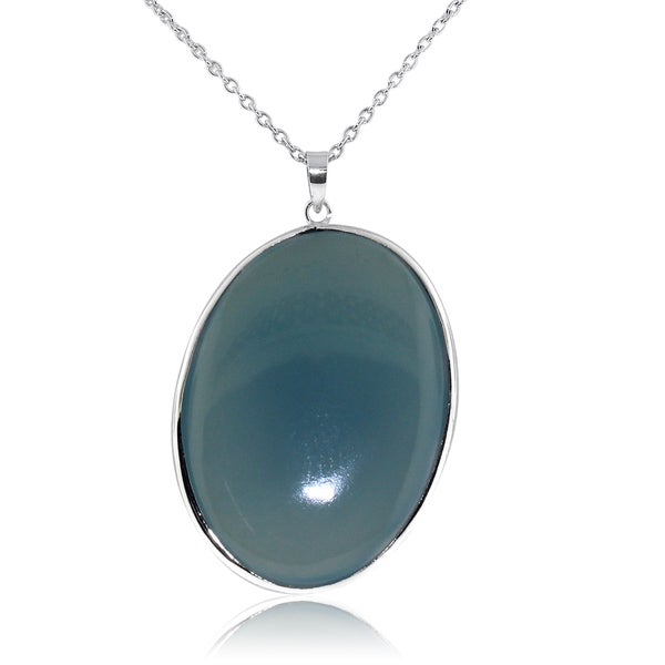 Gioelli Sterling Silver Large Oval Shape Blue Chalcedony Pendant Necklace