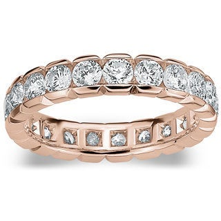 Amore 14k or 18k Rose Gold 2ct TDW Round Brilliant Diamond Eternity Band (G-H, SI1-SI2)