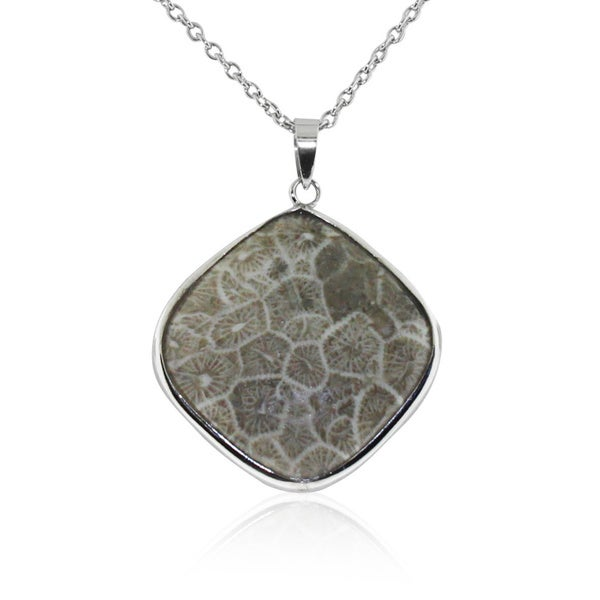 Gioelli Sterling Silver Fossil Coral Pendant Necklace