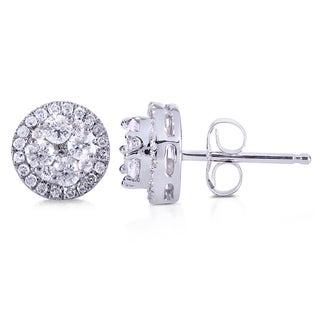 Annello 10k White Gold 1/2ct TDW Diamond Earrings (H-I, I2-I3)
