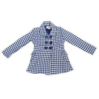 Girl's Blue Houndstooth Pea Coat