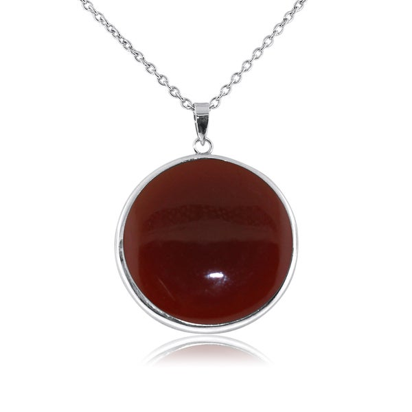 Gioelli Sterling Silver Large Round-cut Red Onyx Pendant Necklace