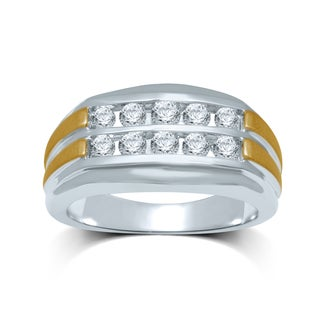 Men's 10k Two-tone Gold 1ct TDW Diamond Fashion Ring (I-J, I2-I3)