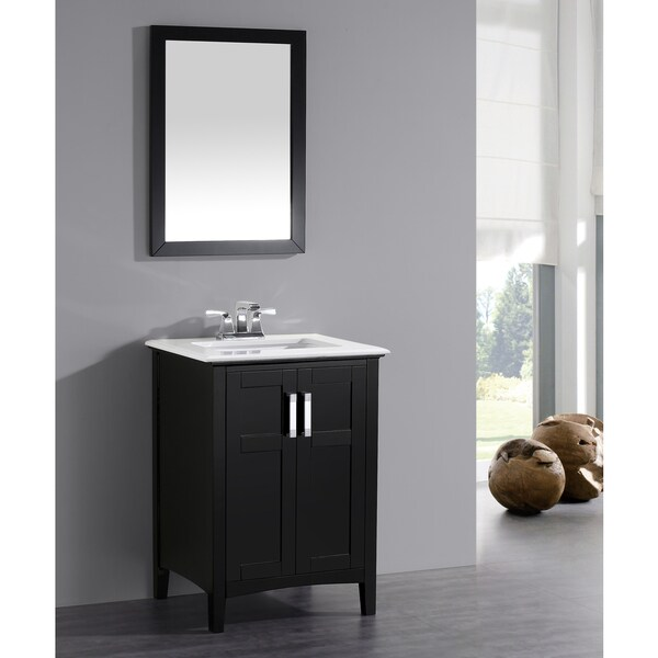 black 24 inch bath vanity with 2 doors and white quartz marble top