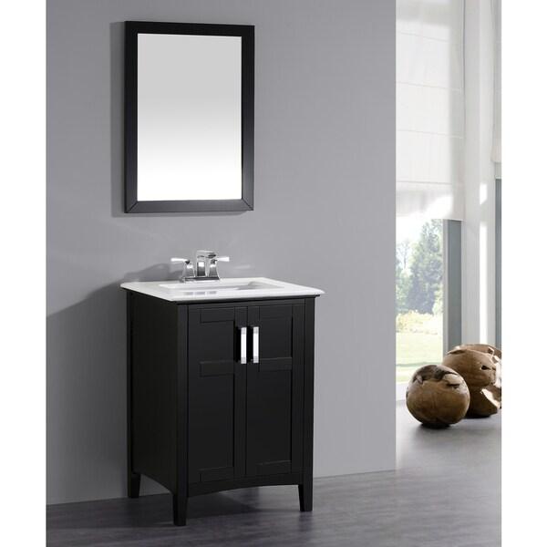 WYNDENHALL Salem Black 2 Door 24 Inch Bath Vanity Set With