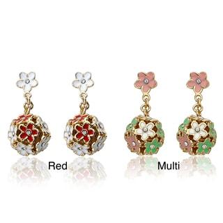 Little Miss Twin Stars Gold Overlay Children's Cubic Zirconia and Enamel Flower Earrings