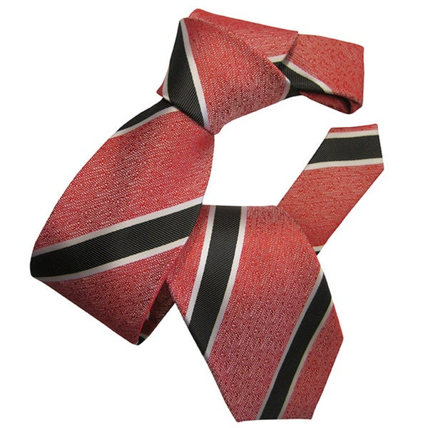 Dmitry Men's Red Striped Italian Silk Tie