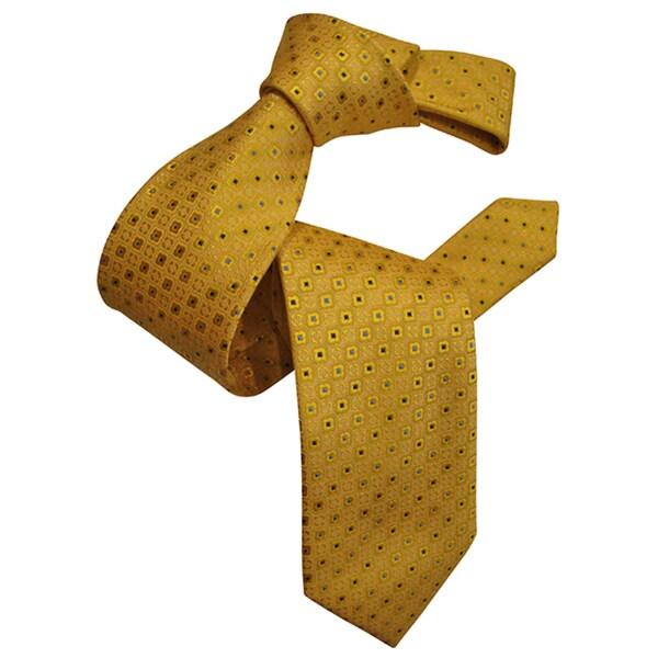 Dmitry Men's Yellow Patterned Italian Silk Tie