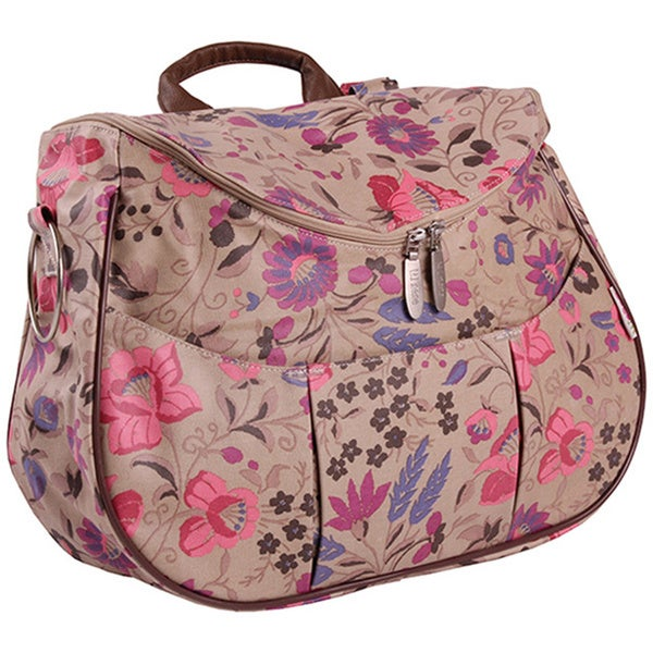 Minene Layla Sand with Pink Floral Deluxe Diaper Changing Shoulder Bag and Backpack