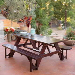 Ideal Christopher Knight Home Cinnabar piece Outdoor Pine Table and Bench Set