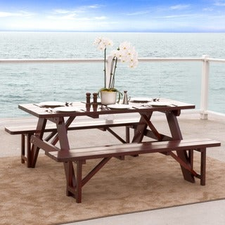 Christopher Knight Home Cinnabar 3-piece Outdoor Pine Table and Bench Set