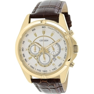 Citizen Men's AN8043-05A Brown Leather Analog Quartz Watch with Silver Dial