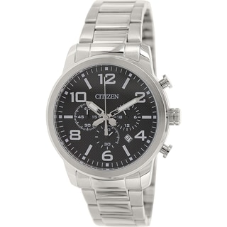 Citizen Men's AN8050-51E Silver Stainless-Steel Quartz Watch with Black Dial