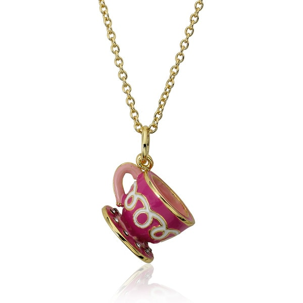 Molly Glitz 14k Gold Plated Crystal Dotted Tea Cup Pendant Necklace
