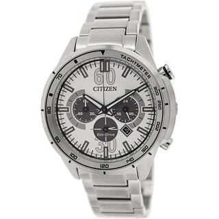 Citizen Men's Eco-drive CA4120-50A Silver Stainless-Steel Eco-drive Watch with Grey Dial