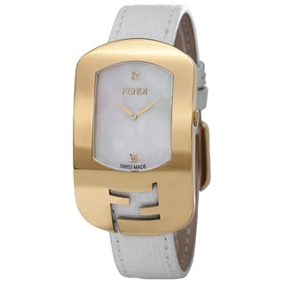Fendi Women's F300434541D1 'Chameleon' Mother of Pearl Diamond Dial White Leather Strap Goldtone Watch