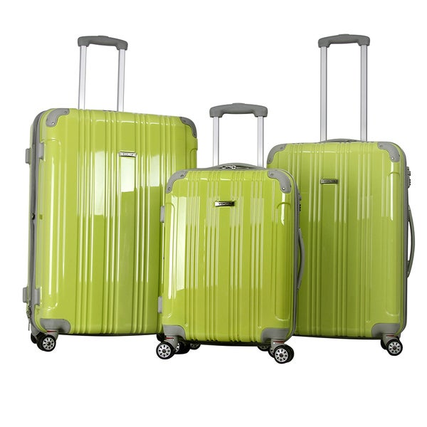 Topline Green Hard Candy 3-Piece Expandable Hardsided 8-wheel Spinner TSA Locks