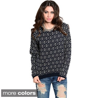 Feellib Women's Long Sleeve Diamond Pattern Print Knit Sweater