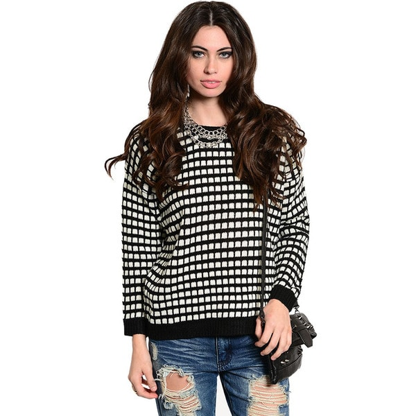 Shop The Trends Women's Long Sleeve Bold Geo Square Print Boxy Knit Sweater