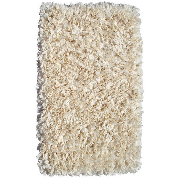 Shaggy Raggy Cream Jersey Cotton Shag Rug (2'8 x 4'8)