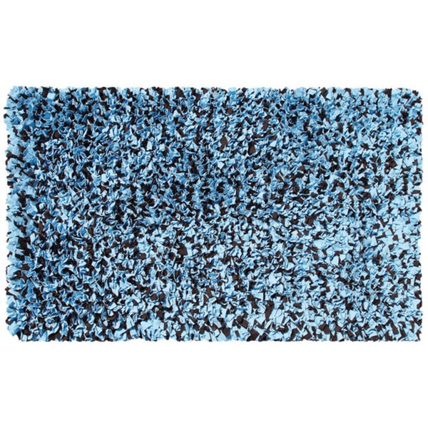 Blue and Brown Shaggy Raggy Rug