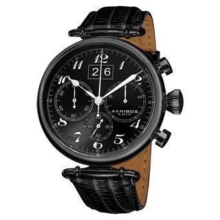 Akribos XXIV Men's Chronograph Black Leather Strap Watch
