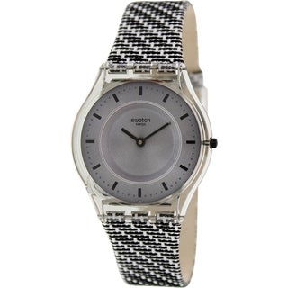 Swatch Women's Skin SFM127 Two-Tone Leather Swiss Quartz Watch with Grey Dial