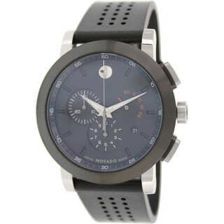 Movado Men's Museum 0606545 Black Rubber Swiss Chronograph Watch with Black Dial