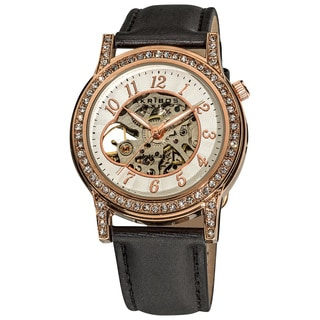 Akribos XXIV Women's Crystal Accented Open Heart Automatic Skeleton Satin Strap Watch