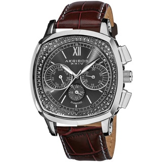 Akribos XXIV Men's Diamond Dual Time Swiss Quartz Genuine Leather Strap Watch