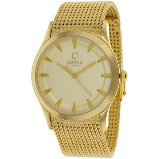 Obaku Men's V124GGGMG1 'Harmony' Gold Tone Stainless Steel Mesh Watch